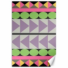Shapes Patchwork Circle Triangle Canvas 24  X 36  by Mariart