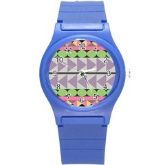 Shapes Patchwork Circle Triangle Round Plastic Sport Watch (s) by Mariart