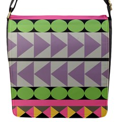Shapes Patchwork Circle Triangle Flap Messenger Bag (s) by Mariart