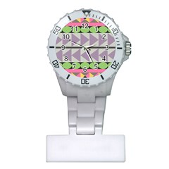 Shapes Patchwork Circle Triangle Plastic Nurses Watch by Mariart