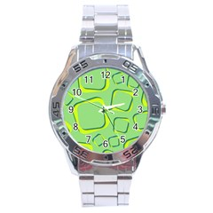Shapes Green Lime Abstract Wallpaper Stainless Steel Analogue Watch by Mariart
