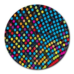 Polkadot Rainbow Colorful Polka Circle Line Light Round Mousepads by Mariart