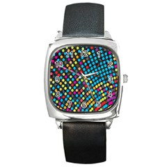 Polkadot Rainbow Colorful Polka Circle Line Light Square Metal Watch by Mariart