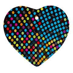 Polkadot Rainbow Colorful Polka Circle Line Light Heart Ornament (two Sides) by Mariart