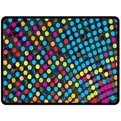 Polkadot Rainbow Colorful Polka Circle Line Light Fleece Blanket (large)  by Mariart