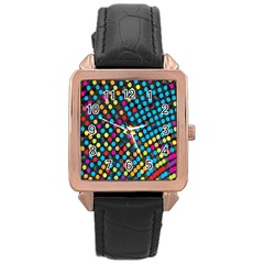 Polkadot Rainbow Colorful Polka Circle Line Light Rose Gold Leather Watch  by Mariart