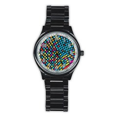 Polkadot Rainbow Colorful Polka Circle Line Light Stainless Steel Round Watch by Mariart