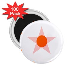 Test Flower Star Circle Orange 2 25  Magnets (100 Pack)  by Mariart