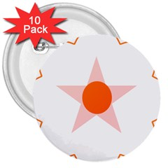 Test Flower Star Circle Orange 3  Buttons (10 Pack)  by Mariart