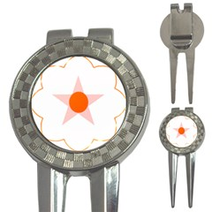 Test Flower Star Circle Orange 3 In 1 Golf Divots by Mariart