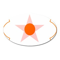 Test Flower Star Circle Orange Oval Magnet by Mariart