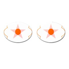 Test Flower Star Circle Orange Cufflinks (oval) by Mariart