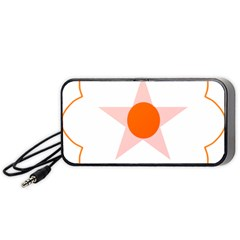 Test Flower Star Circle Orange Portable Speaker (black) by Mariart