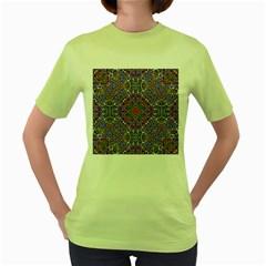 Oriental Pattern 01a Women s Green T Shirt by MoreColorsinLife