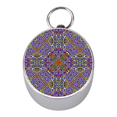 Oriental Pattern 01a Mini Silver Compasses by MoreColorsinLife