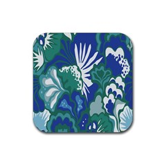 Tropics Leaf Bluegreen Rubber Coaster (square)  by Mariart