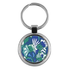 Tropics Leaf Bluegreen Key Chains (round)  by Mariart