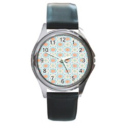 Star Sign Plaid Round Metal Watch by Mariart