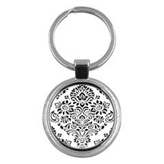 Vintage Damask Black Flower Key Chains (round)  by Mariart