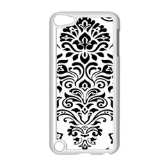 Vintage Damask Black Flower Apple Ipod Touch 5 Case (white) by Mariart