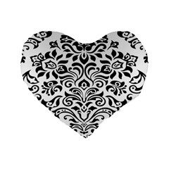 Vintage Damask Black Flower Standard 16  Premium Flano Heart Shape Cushions by Mariart