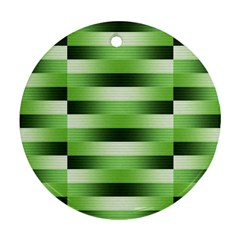 View Original Pinstripes Green Shapes Shades Round Ornament (two Sides) by Mariart