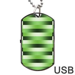 View Original Pinstripes Green Shapes Shades Dog Tag Usb Flash (one Side) by Mariart