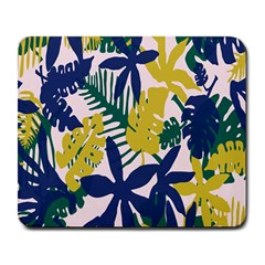 Tropics Leaf Yellow Green Blue Large Mousepads by Mariart