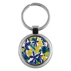 Tropics Leaf Yellow Green Blue Key Chains (round)  by Mariart