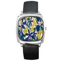 Tropics Leaf Yellow Green Blue Square Metal Watch by Mariart