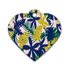 Tropics Leaf Yellow Green Blue Dog Tag Heart (two Sides) by Mariart