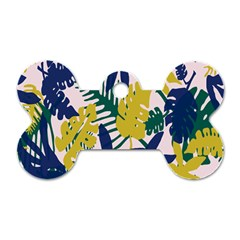 Tropics Leaf Yellow Green Blue Dog Tag Bone (two Sides) by Mariart