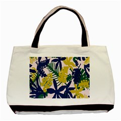 Tropics Leaf Yellow Green Blue Basic Tote Bag (two Sides) by Mariart
