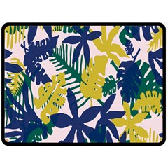 Tropics Leaf Yellow Green Blue Fleece Blanket (large)  by Mariart