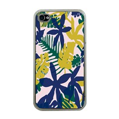 Tropics Leaf Yellow Green Blue Apple Iphone 4 Case (clear) by Mariart
