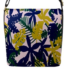 Tropics Leaf Yellow Green Blue Flap Messenger Bag (s) by Mariart