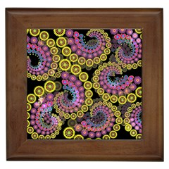 Spiral Floral Fractal Flower Star Sunflower Purple Yellow Framed Tiles by Mariart