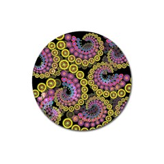 Spiral Floral Fractal Flower Star Sunflower Purple Yellow Magnet 3  (round) by Mariart