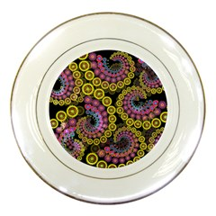 Spiral Floral Fractal Flower Star Sunflower Purple Yellow Porcelain Plates by Mariart