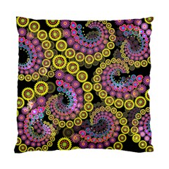 Spiral Floral Fractal Flower Star Sunflower Purple Yellow Standard Cushion Case (one Side) by Mariart