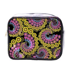 Spiral Floral Fractal Flower Star Sunflower Purple Yellow Mini Toiletries Bags by Mariart
