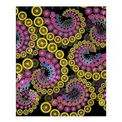 Spiral Floral Fractal Flower Star Sunflower Purple Yellow Shower Curtain 60  X 72  (medium)  by Mariart