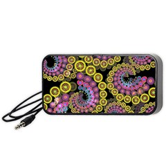 Spiral Floral Fractal Flower Star Sunflower Purple Yellow Portable Speaker (black) by Mariart