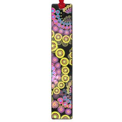 Spiral Floral Fractal Flower Star Sunflower Purple Yellow Large Book Marks by Mariart