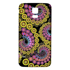 Spiral Floral Fractal Flower Star Sunflower Purple Yellow Samsung Galaxy S5 Back Case (white) by Mariart