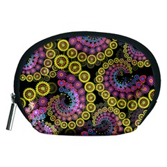 Spiral Floral Fractal Flower Star Sunflower Purple Yellow Accessory Pouches (medium)  by Mariart