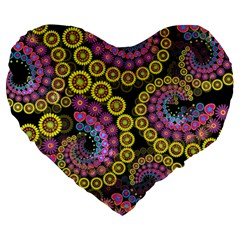 Spiral Floral Fractal Flower Star Sunflower Purple Yellow Large 19  Premium Flano Heart Shape Cushions by Mariart