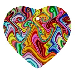 Rainbow Gnarls Ornament (heart) by WolfepawFractals
