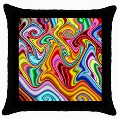 Rainbow Gnarls Throw Pillow Case (black) by WolfepawFractals