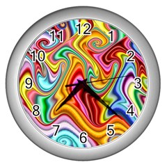 Rainbow Gnarls Wall Clocks (silver)  by WolfepawFractals